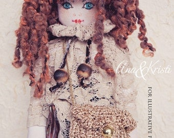 Aine Art Fabric doll 05, Luxury art doll, handmade, fabric doll, unique