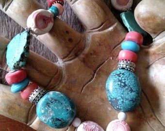 Turquoise And Salmon Coral Necklace