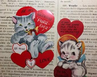 Vintage Valentines / Two Kitten Cat Die Cut Signed Valentines 1950's