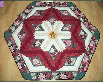Quilted Christmas Tree Skirt Quilt Burgundy Poinsettia 117