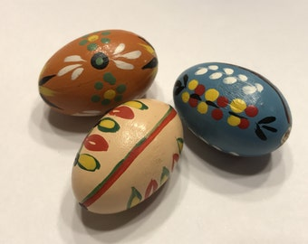 set of 3 small Vintage wood Egg Hand painted decor ornament, 35 mm (A1)