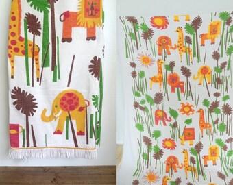 Vintage Twin/Single Retro Mod Kids Bedspread Animal Jungle Pattern Soft Cotton Fringed