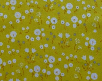 1/2 Yard Organic Cotton Fabric - Cloud 9 Fabrics, Stay Gold, Marigold Pollen