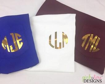 Monogrammed Long Sleeved Pocket Tee, Monogrammed Tee, Monogrammed Tee Shirt, Personalized Shirt, Gold, Monogrammed Shirt, School Colors