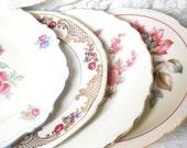 SALE 4 vintage mismatched floral breakfast plates salad plates floral side plates bridal shower tea party wedding