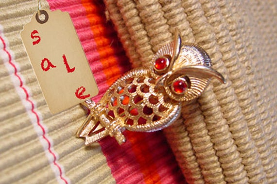 """Owl Pin by Avon 1972 Avon """"Owlette"""" gold tone vintage pin with red rhinestone eyes"""