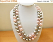 On Sale Retro Pink and Grey Long Faux Pearl Necklace Item K # 1991