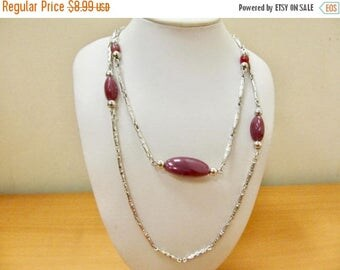 On Sale SARAH COVENTRY Vintage Purple Double Chain Station Necklace Item K # 1060