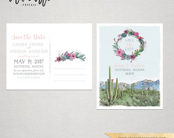 Destination wedding Arizona Scottsdale Phoenix Desert cactus succulent rose illustrated wedding invitation Suite Deposit Payment