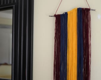 Boho Wool Yarn Wall Hanging - Rustic & Minimalist - Deep Red, Navy Blue, and Gold - Bohemian Home Decor, Wall Art, Boho Wall Decoration