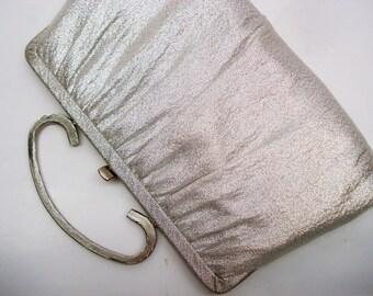 Sparkly silver lamé convertible evening bag