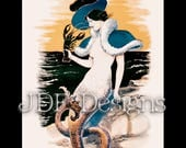 Instant Digital Download, Vintage Victorian Graphic, Mermaid with Lobster, Ocean, Sea, Water, Antique Fantasy, Printable Image, Steampunk
