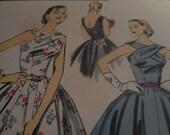 Vintage 1950's Advance 7989 American Designer Sadye Weinberg Dress Sewing Pattern, Size 14 Bust 32