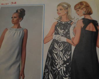 Vintage 1960's Butterick 4631 Dress Sewing Pattern, Size 14 Bust 34