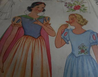 """Collectible Vintage 1930's, 40's McCall 558 """"Snow White"""" Walt Disney Costume Sewing Pattern, Size 6 Breast 24"""