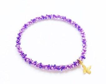 Golden butterfly charm stackable beaded crochet purple yoga friendship bracelet