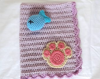 Crochet Pet Blanket/Cat Blanket/Small Dog Blanket and Toy Fish Set in Purple - Ready to Ship