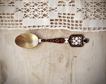 Vintage Small Ornate Spoon, Enamel Folk Design Rustic Collectable