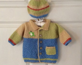 Ultra Soft,  Alpaca Blend Baby Turtle Cardigan Sweater and Hat Set