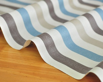 Stripes Laminated Fabric, Blue Brown Stripe Fabric - By the Yard 95475