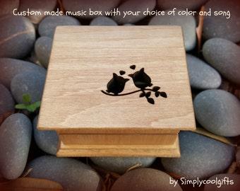 music box, wooden music box, custom made music box, owls music box, personalized music box, musical box, love owls music box, lover owls
