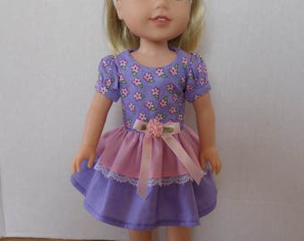 Pink and purple floral dress American made to fit 14 1/2 inch Wellie Wisher Girl Dolls