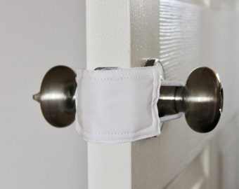 All White door latch cover for classrooms, school, teachers, school rooms.