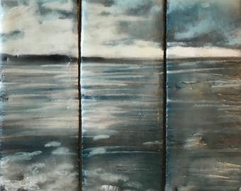 wednesday, sketch 5x5 - triptych original encaustic painting - peaceful, impressionist, landscape, beach, clouds