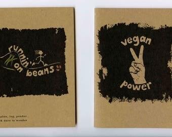 Vegan Notebook - Vegan Runner Notebook - Vegan Power Notebook - Eco printed 100% Recycled notebook - Vegan Gift - pocket notebook journal