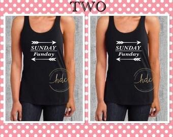 Bridesmaids Gifts/SET OF TWO Sunday Funday Tanks/Bachelorette Party Shirts/Beach Shirt/Birthday Shirts/Racer Back Tank Top