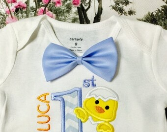 ON SALE . Baby Boys Easter Outfit, First Easter Shirt for Boys, 1st Easter Outfit. Boys first Easter outfit bow tie, Personalized Easter