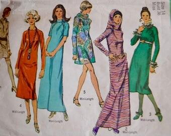 70s maxi or mini dress pattern, simplicity 8952