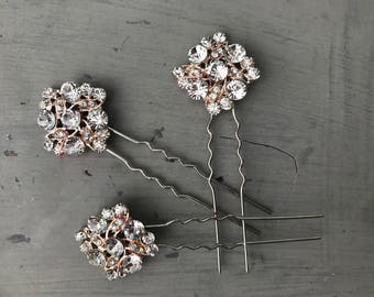Rose gold hair pins  , Bobby pins , Bridal hair accessories - Rose gold hair pins - hair pins bridesmaid