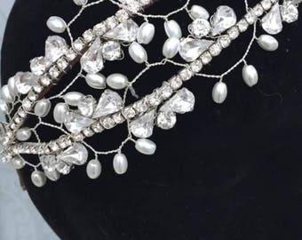bridal headpiece , Wedding headband , vine bridal tiara , bridal accessory- Tiara  , bridal flower headband