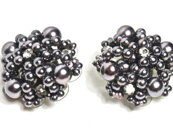 Vintage, Clip-on Earrings, Gray Faux Pearl/Beads and Rhinestone, Vintage Evening Accessory, Special Occasion