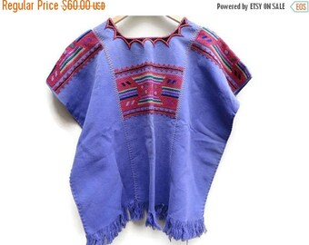 SALE Purple Vintage Poncho Embroidered Ethnic one size S M L