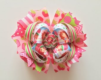 SALE! Ready To Ship Hairbow! Strawberry Shortcake Hairbow, Berry Sweet Girl Hairbow, Chevron, Polka Dot Boutique Hairbow, Girls Hairbow