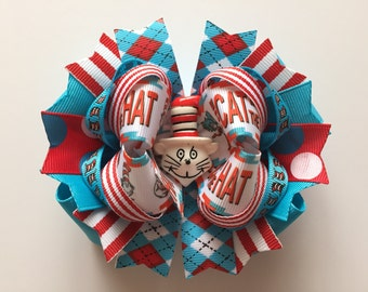 SALE! Ready To Ship Hairbow!  The Cat In The Hat Hairbow, Boutique Hairbow, Girls Hairbow