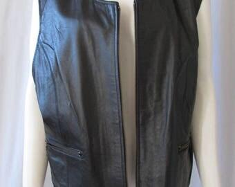 XXL Vest Black leather zipper, front pockets size 20W