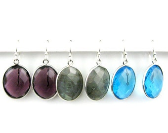 Bezel Gemstone Oval Pendant Earrings - Sterling Silver Bezel Gem and Hooks - Oval Gemstone Earrings - All Stones - 640112