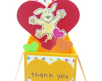 Yellow labrador Dog themed pop up card, Dog lover card, box pop up, pop up greeting card, thank you