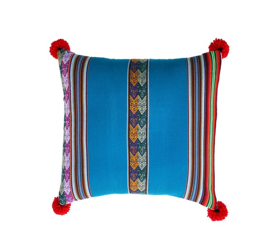 Pillow COVER,  Peruvian textile, turquoise, pom poms