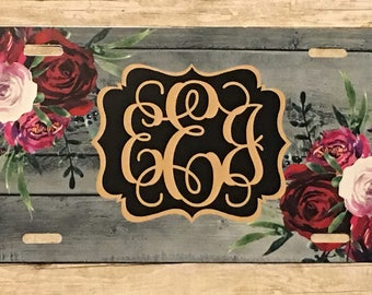 Personalized Floral Roses and Rustic Wood Design License Plate Monogrammed License Plate