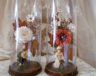 French Victorian Wax Figure Valentine Domes