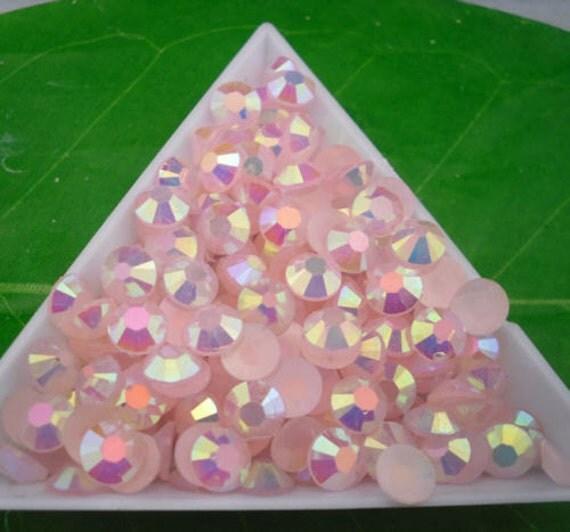 Pale Pink AB Flat Back Round Resin Rhinestones Embellishment Gems C76