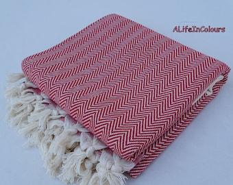 Herringbone patterned Turkish peshtemal natural soft cotton red colour bath towel, beach towel, spa towel, hammam towel, travel towel.