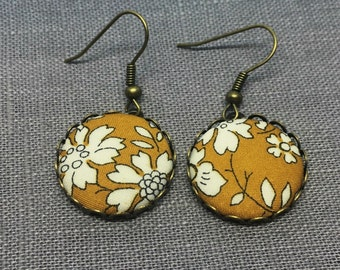 Liberty Fabric Earrings in Capel Mustard