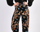 Silk Wide Leg Pants/ Harem Pants/ Boho Silk Pants/ Burning Man Harem Pants/ Moroccan Pants/ Hippie Silk Pants/ Exotic High Waist Panst