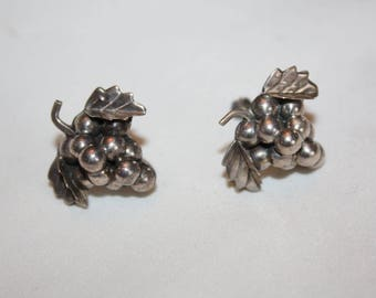 Sterling Grape Mexico Earrings 1960s  Estate Jewelry