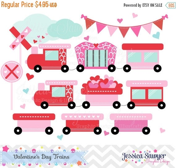 80% OFF - INSTANT DOWNLOAD,Valentine Train, Valentine's Day clip art , for commercial use, personal use, invites, cards, scrapbooking